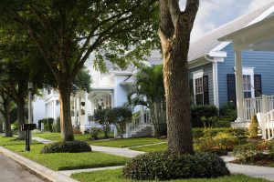 neighborhood street scene in small American town
